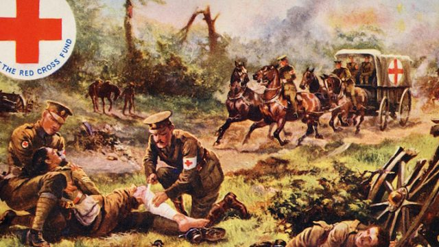 A vintage colour illustration in aid of the Red Cross Fund showing the Red Cross at work on a World War One battleground, circa 1915.  The artist is Harry Payne.  (Photo by Popperfoto/Getty Images)